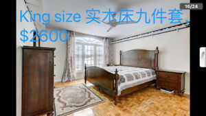 Bedroom King size 9 pieces set & Queen size bed set moving sell