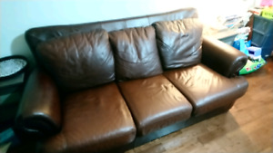 Real leather couch  REDUCED PRICE