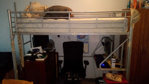 Twin size loft bed with desk
