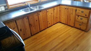 Natural Pine Kitchen Cabinets (full kitchen, NO appliances)