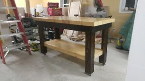 Solid pine butcher block top kitchen island