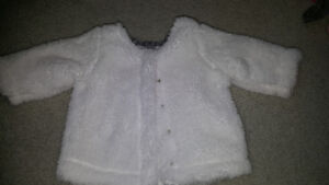 3 month fuzzy button up sweater euc