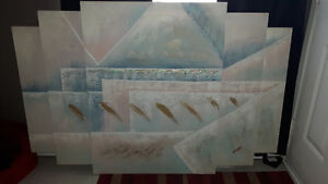 Triple canvas painting