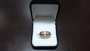 Bague homme or jaune/blanc diamants 14K mens gold diamond ring