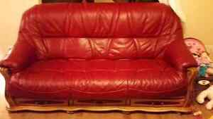NEW PRICE! 3500$ O.B.O Genuine Red leather couch and chair