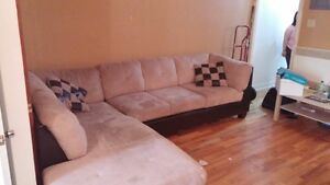 Sofa real suede and leather
