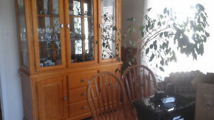 oak dining table and chairs with china cabinet