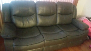 Leather couch and theatre style love seat