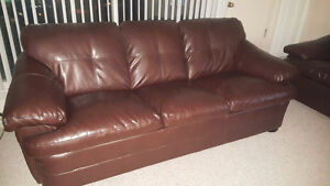 Brown Leather Couch Set