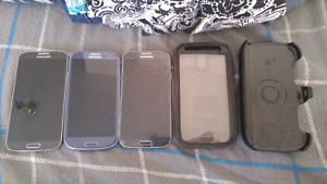 3 Cell Phones (Two S4's - One S3) & S4 OtterBox
