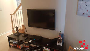 Installation de base + support tv fixe au mur 130$ oui 130$