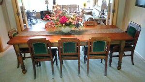 Antique Harvest Table with 8 Chairs