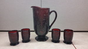 Princess House Pitcher & Set 4 Glasses