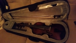 Century old 3/4 violin with case, bow