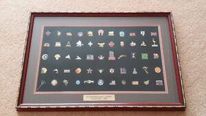 Framed pin collection from the XI Commonwealth Games (1978)