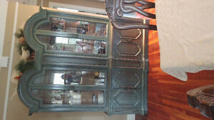 Large solid wood display hutch