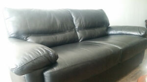 Black Genuine Leather 3 Seater Couch