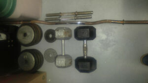 Fitness weights, dumbells, bench, bars