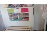 Kids single bed with storage/bookcase headboard