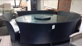 Lazy Susan Round Rattan table with 4 benches