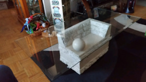 Faux marble glass-topped large coffee table for sale