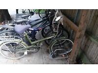 Green vintage bike with helmet and lock