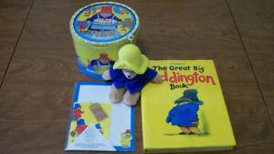 Paddington bear collectibles-bear beanie,book,can,paper etc...