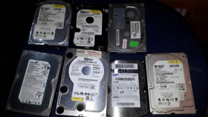 9 hard drives 1tb, 3 500gb, 1 160gb.   1 120gb. 2  40g. 1 30gb