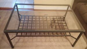 Coffee Table with metal frame and glass top