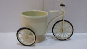 $5.00 FOR 3 ITEMS: BICYCLE PLANTER, PAPER WEIGHT, CAT FIGURINES