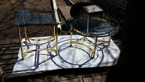 Brass Coffee & End Table w/ Single Bevel Tempered Glass $77 EACH