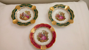 Set of 3 Vintage Limoges Courtship Romance Ashtrays
