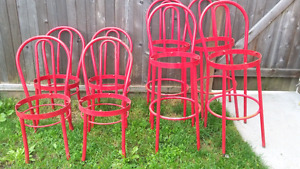 Red metal chair frames