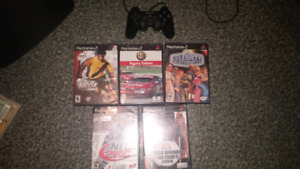 5 Playstation 2 games plus Ps2 controller