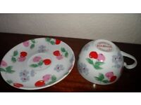 Cath Kidston Cappucino Cup and Saucer/Cherry design (brand new)