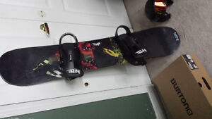 Burton Snowboard with new bindings, boots, and halmet/goggles