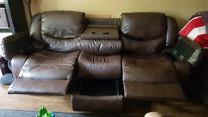 3 piece genuine leather sofa set