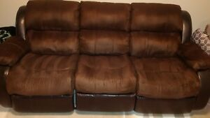 Leather and MicroSuede Reclining Sofa & love seat, twotone brown