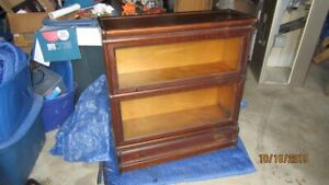 Macey antique 2 glass level barrister bookcase bottom drawer
