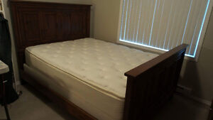 Queen Size Simmons Mattress + Pine wood frame and Headboards
