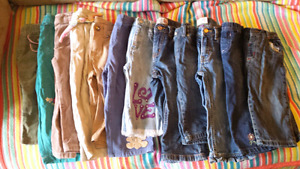12 pair pants , jeans toddler girl size 12 , 12-18 24 months