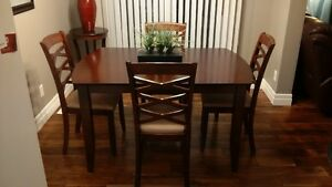 Dinner table with six upholstered chairs and Extension Kitchener / Waterloo Kitchener Area image 3