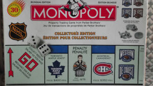BILINGUAL VERSION OF NHL MONOPOLY