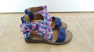 Blue Floral Sandals with Bow and Sequins, Toddler Girl, Size 7