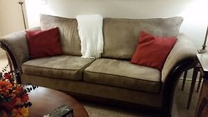 Brown Couch with wood accents - Made in Canada