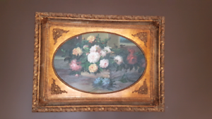 Large classic floral painting, ornate gold framed