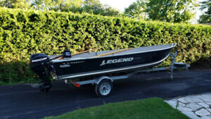 2011 Legend 16 Widebody Boat with 2008 Mercury 20HP and Trailer