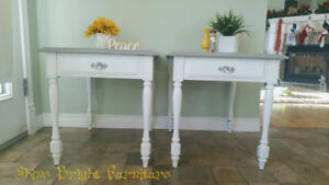 Matching Set of Side Tables Soft Grey and White