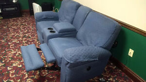 2 Used 'Loveseat' Recliners with Storage and Drink Holders