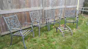 Four Patio Chairs for Sale with Ottoman